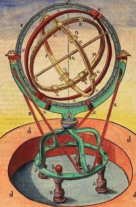 Dessin d'un instrument de Tycho Brahe : comme un globe creux, la sphère armillaire est représenté en vert, rouge et doré.