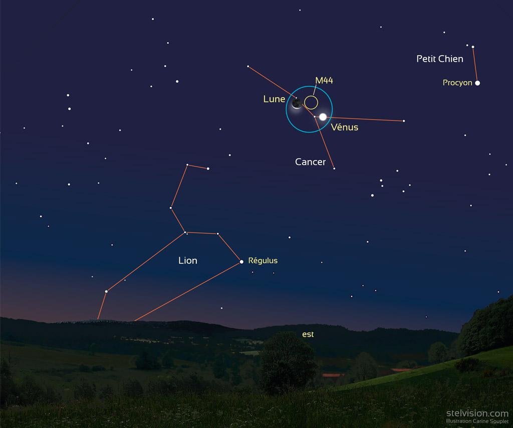 Illustration montrant Vénus et le croissant de Lune près de l'amas stellaire M44 dans la constellation du Cancer, au matin du 14 septembre 2020.