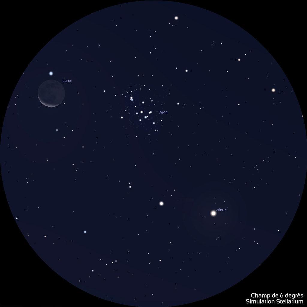 Aspect du champ d'une paire de jumelles de type 10x50, le 14 septembre vers 6h30. La planète Vénus et la Lune encadrent l'amas stellaire M44 dans la constellation du Cancer.