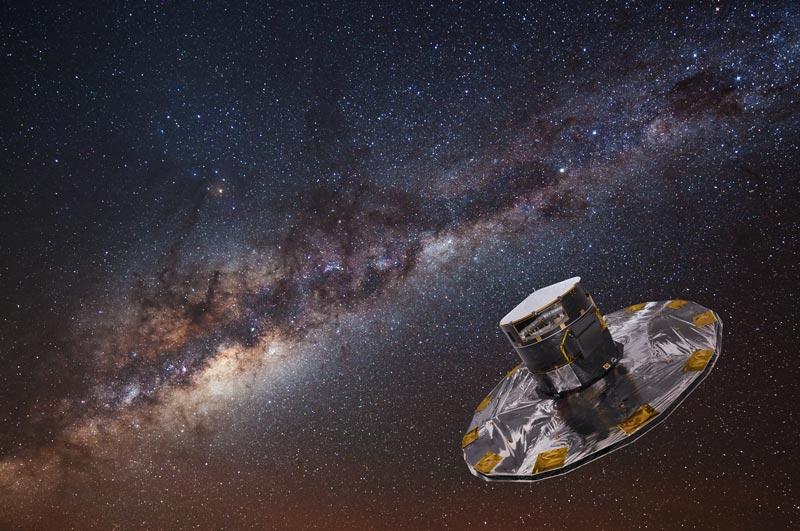 Image d'artiste du satellite Gaia, devant une photo de la Voie Lactée.