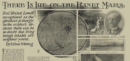 Extrait en noir et blanc d'une page du New York Times faisant référence à la présence de vie sur Mars, appuyée par Percival Lowell.