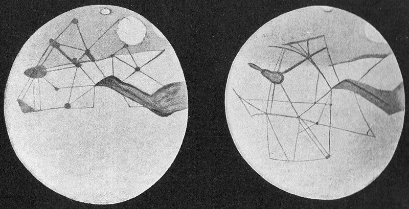 Deux cercles gris clair qui représentent les deux faces de Mars, avec des intersections de traits gris foncé qui représentent les canaux. Aux intersections, des cercles et ovales correspondent aux lacs et oasis entre les canaux.