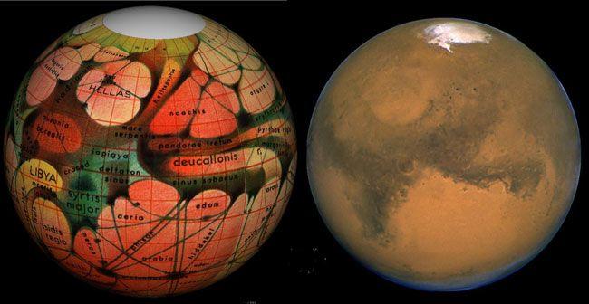 Croquis en couleurs rouge, orange, vert et jaune d'une face de Mars avec ses canaux et mers. Sur la droite, on voit la même face de Mars, capturée en vraies couleurs par le télescope spatial Hubble.