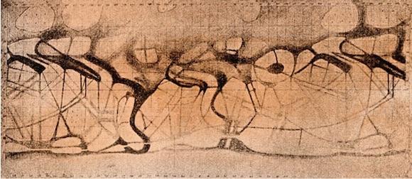 Croquis des canaux de Mars sur un papier marron clair. On y voit des traits marrons foncés qui semblent former une sorte de toile d'araignée diffuse : ce sont les canaux de Mars.