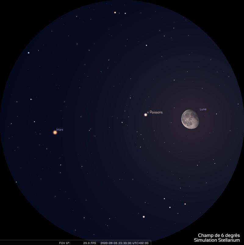 Aspect de la Lune et de Mars le 5 septembre 2020 en soirée, vers 23h30 heure de Paris. Les deux astres sont éloignés de 3 degrés environ . Ce champ de 6degrés correspond à celui d'une paire de jumelles de type 10x50. Au cours de la nuit, la Lune se rapproche progressivement de Mars.