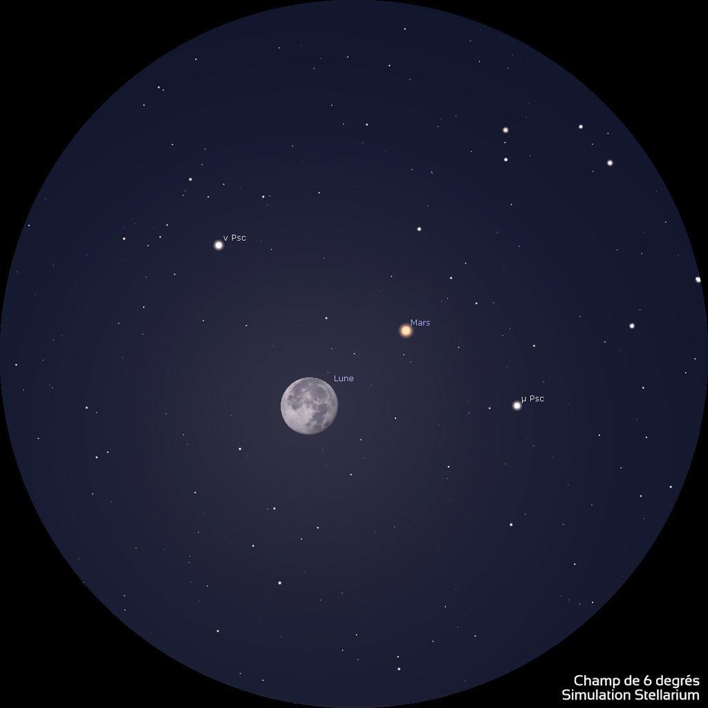 Illustration montrant le rapprochement entre la Lune et Mars, le 3 octobre 2020 vers 7h (heure de Paris) tel qu'on peut le voir dans des jumelles de type 10x50.