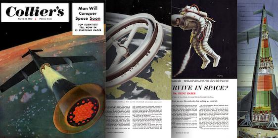 Quatre pages de la série de récits Man will conquer space soon illustrées par Chesley Bonestell. Sur la première à gauche on voit une fusée qui se détache de son lanceur au-dessus de l'atmosphère terrestre, sur la deuxième une station spatiale de forme circulaire en orbite, sur la troisième un astronaute en tenue et scaphandre dans l'espace et sur la dernière la coupe légendée d'une fusée au décollage.