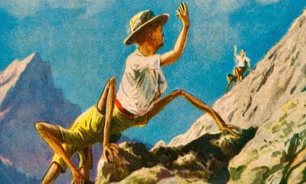 Dessin où l'on voit sur le flanc d'une montagne, avec en fond un ciel bleu, deux hommes-araignées (buste d'homme et pattes d'araignée), habillés, se saluer.