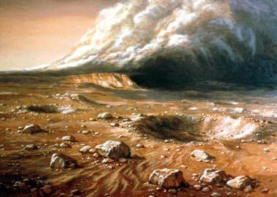 Peinture où l'observateur se trouve à la surface de Mars, devant un petit cratère. Le sol est orange foncé marron, parsemé de cailloux, et en arrière plan on voit un immense nuage grisâtre qui représente une tempête martienne.