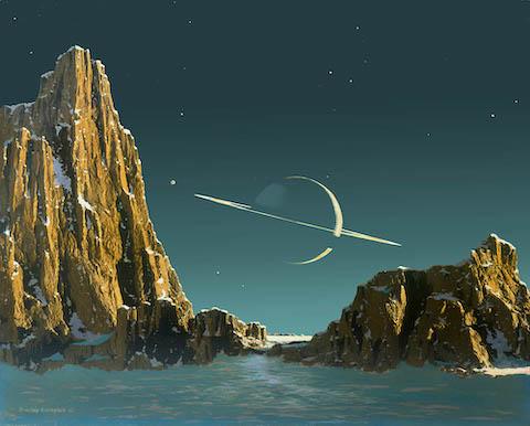 Vue depuis le sol de Titan : sol enneigé au premier plan, au second plan à gauche et à droite de l'image des falaises type canyon en couleur marron clair, elles aussi recouvertes de neige, et entre ces deux monts, sur fond d'un ciel bleu clair étoilé, la planète Saturne éclairée par le Soleil par la droite, avec ses anneaux vus par la tranche à l'horizontale.