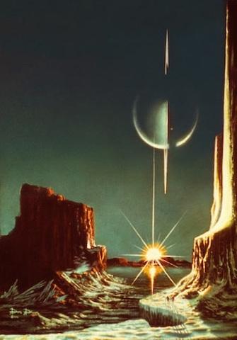 Dessin qui représente la surface du satellite Titan de Saturne (au premier plan) comme un canyon type Colorado, avec au second plan une étendue d'eau et un coucher de Soleil, et enfin dans le ciel en haut de l'image Saturne, les anneaux vus par la tranche et à la verticale en couleur bleu vert.