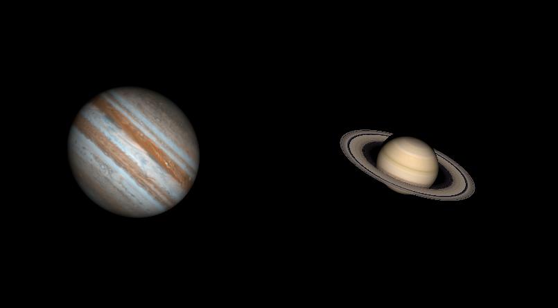 Taille comparée de Jupiter et Saturne le 21 décembre 2020. Onvoir les bandes nuageuses de différentes couleurs sur Jupiter et les anneaux de Saturne avec la division de Cassini.