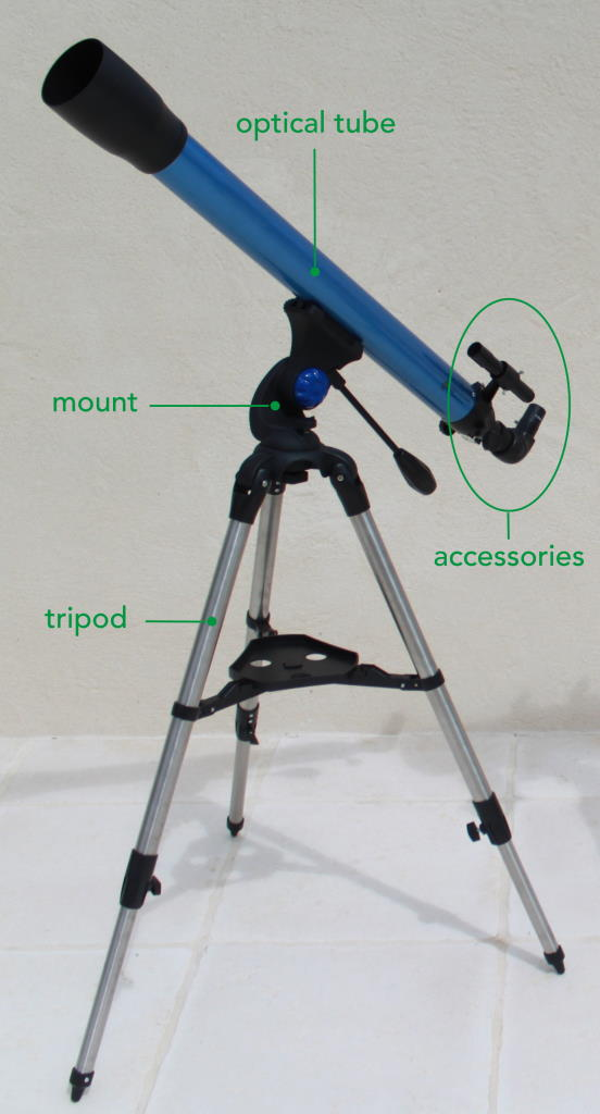 Telescope photo showing the optical tube, the mount, and the accessories.