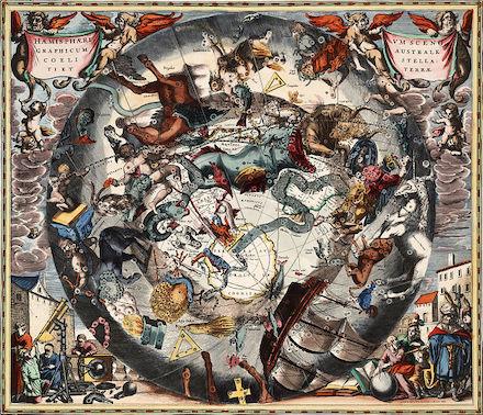 Carte des constellations de l'hémisphère Sud. Elles sont représentées telles sur un tableau, avec une multitude de dessins très élaborés et colorés.
