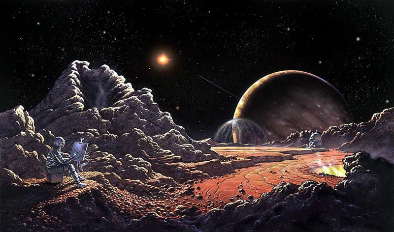 Surface de la lune de Jupiter, Io, sur laquelle à gauche de l'image au premier plan on voit un homme, autoportrait de David Hardy, en scaphandre devant un chevalet en train de peindre. Derrière lui des monticules de rochers et un sol rouge, et en arrière plan Jupiter et le Soleil sur fond de ciel noir étoilé.