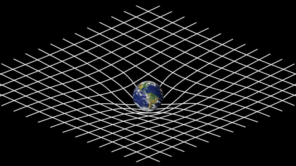 Représentation de l'espace-temps courbe en relativité générale : sur fond noir, la Terre est comme posée sur un quadrillage blanc, qui plie sous sa masse (comme une boule sur un drap)