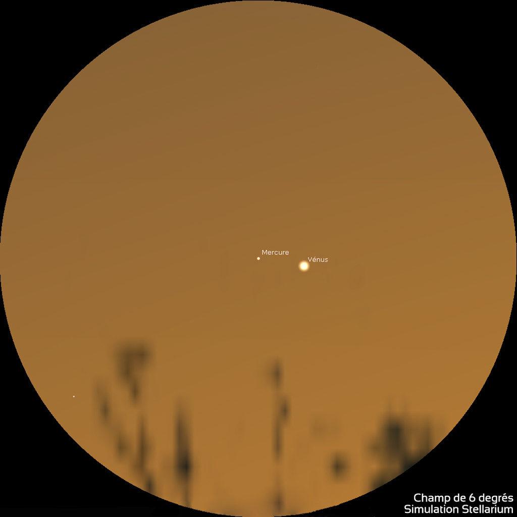 Illustration montrant Mercure à gauche de Vénus dans le ciel du crépuscule, telles qu'on les perçoit dans une paire de jumelles, le 28 mai 2021 vers 22h.