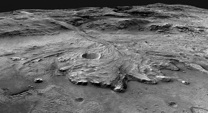 Image en noir et blanc du cratère Jezero. On y voit comme les traces du lit d'une rivière, qui forment un delta. La rivière se déversait autrefois dans le cratère.