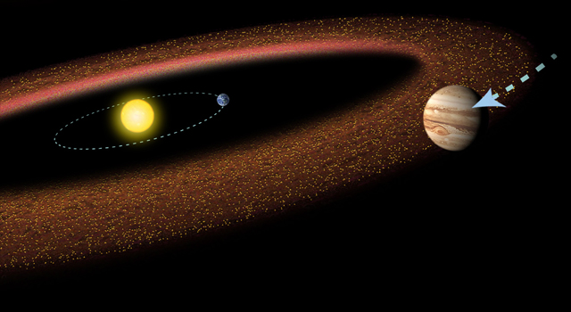 Schéma de la ceinture d'astéroïdes : on voit le Soleil vers la gauche de l'image, avec la Terre et son orbite, puis en couleur marron la ceinture principale, et au premier plan Jupiter.