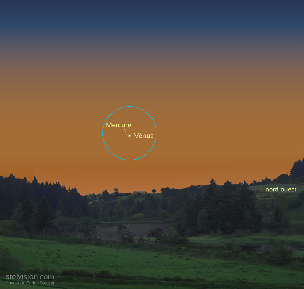 Illustration montrant Mercure et Vénus le 28 mai 2021 à l'oeil nu. Mercure est à peine visible, à gauche de l'étincelante Vénus.
