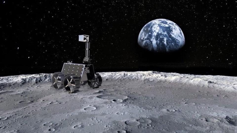 Vue d'artiste de la surface de la Lune, la Terre en fond. Sur le sol grisé avec cratères, on voit un petit rover à quatre roues : Rashid, le premier réalisé par les Emirats arabes unis. Il possède un petit mât.