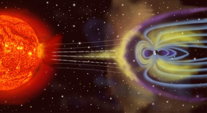 Vue d'artiste des particules éjectées du Soleil (boule rouge orangé à la gauche de l'image) et de leur parcours vers jusqu'à la magnétosphère terrestre. Les lignes de champ de la magnétosphère sont représentées en bleu autour de la Terre sur la droite de l'image.
