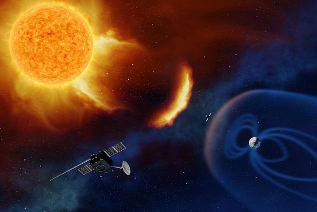 Le Soleil en haut à gauche de l'image, envoie particules et rayonnement en direction de la Terre (en bas à droite) sous la forme d'un arc de cercle brillant. La Terre est représentée avec sa magnétosphère bleutée, et l'on voit deux satellites clairement exposés à la tempête solaire car en dehors de cette bulle.