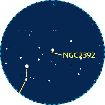 Repérage aux instruments de NGC2392 dans les Gémeaux. Le cercle pointillé bleu couvre un champ de 1° typique d'un oculaire standard grossissant 50fois.