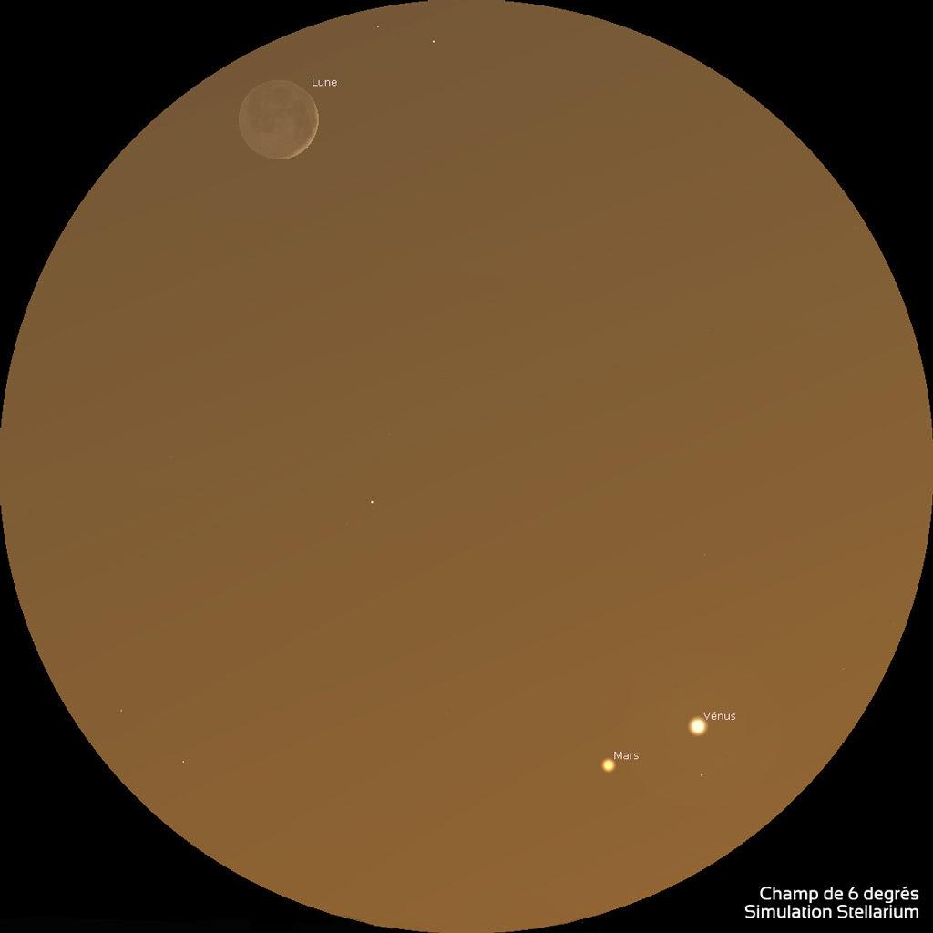 Illustration montrant Mars et Vénus proches l'une de l'autre en bas et à droite dans le champ d'une paire de jumelles 10x50, alors que le fin croissant de lune parée de sa lumière cendrée est en haut à gauche.
