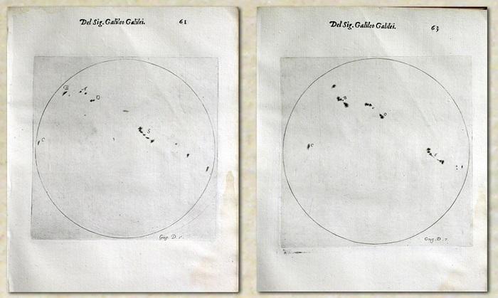 Deux feuilles blanches côte à côte, sur chacune desquelles est dessiné un cercle (le Soleil) et des petites taches noires, les taches solaires.