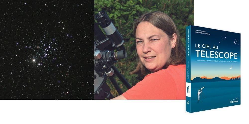 Bandeau photos avec le livre Le Ciel au télescope, l'auteure Carine Souplet et les constellations de l'amas de la chouette