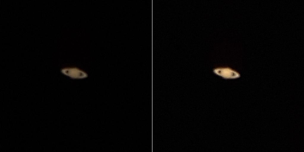 Deux photos comparatives de la planète Saturne (planète avec un anneau), celle de droite est plus lumineuse que celle de gauche.