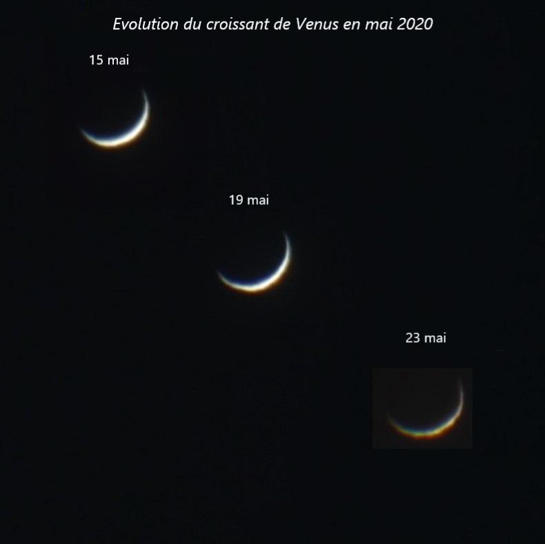 Evolution du croissant de Vénus