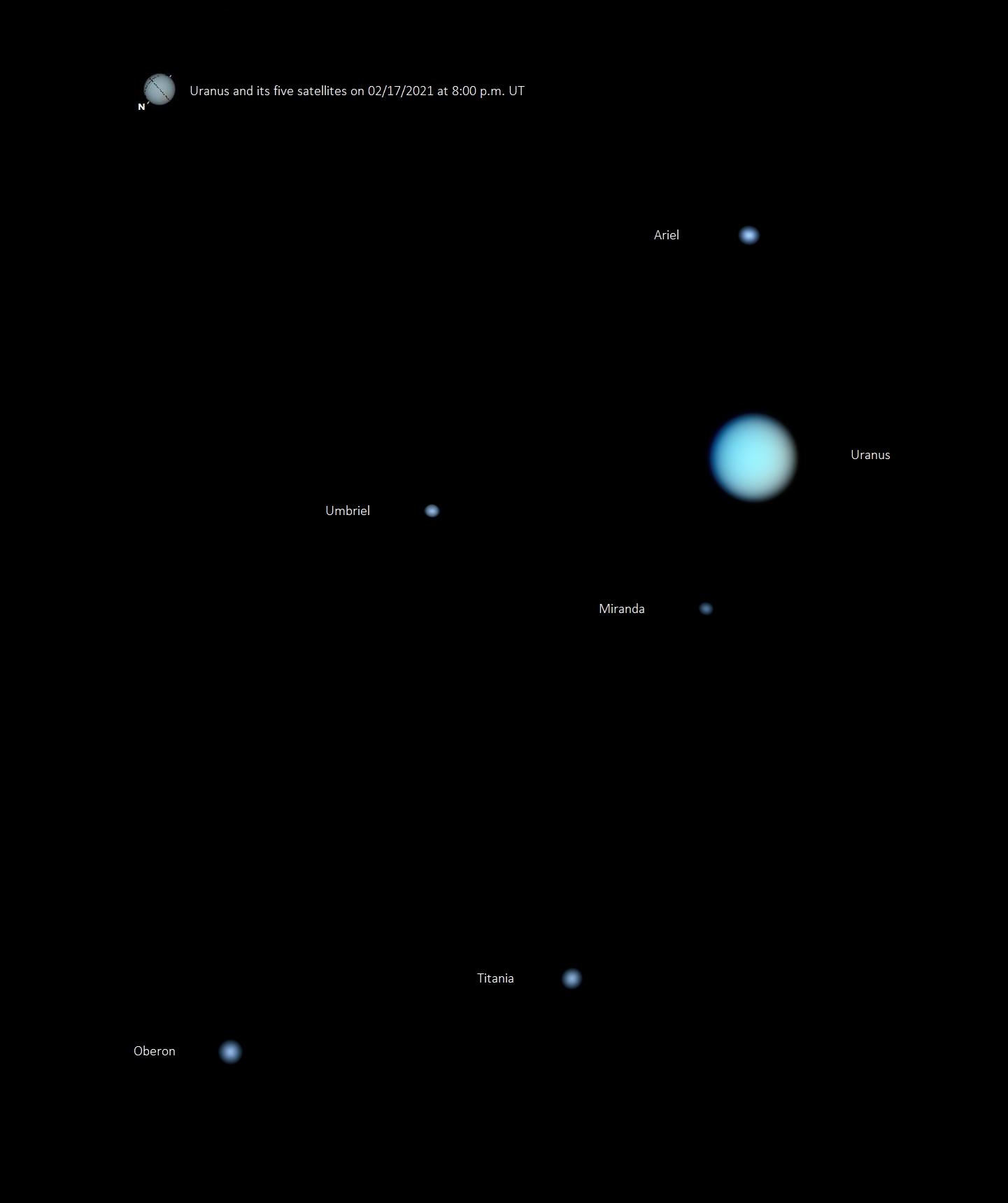Uranus et ses 5 satellites le 17/02/2021