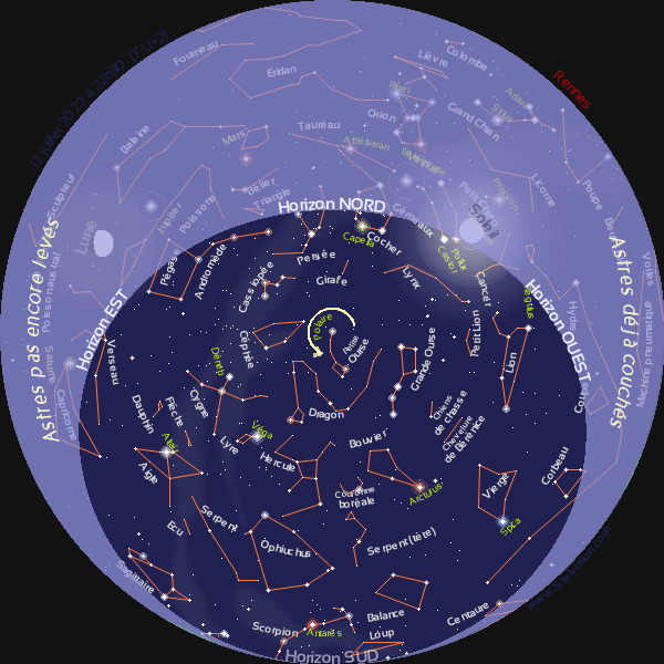 Carte du ciel du jour à Rennes