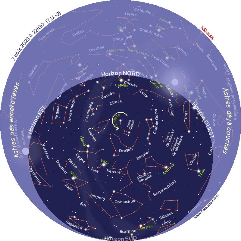 Carte du ciel de la nuit prochaine: