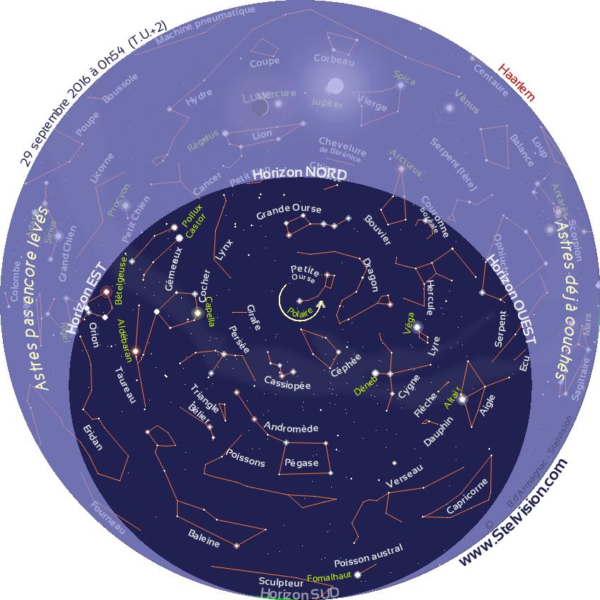 Après de longs mois de mise au point, la carte du ciel Stelvision est enfin en ligne ! Fonctionnant sur le principe de la carte tournante, elle est mise à jour en temps réel et permet de se repérer facilement dans le ciel.