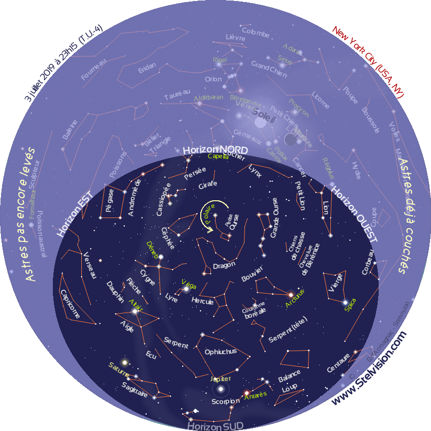 Sky Map In Real Time Stelvision - Us-map-night